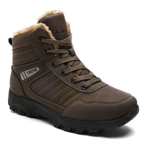 Men Warm Outdoor Warm Shoes Sport Hiking Anti-Skid Tourism Sneakers - BROWN 42