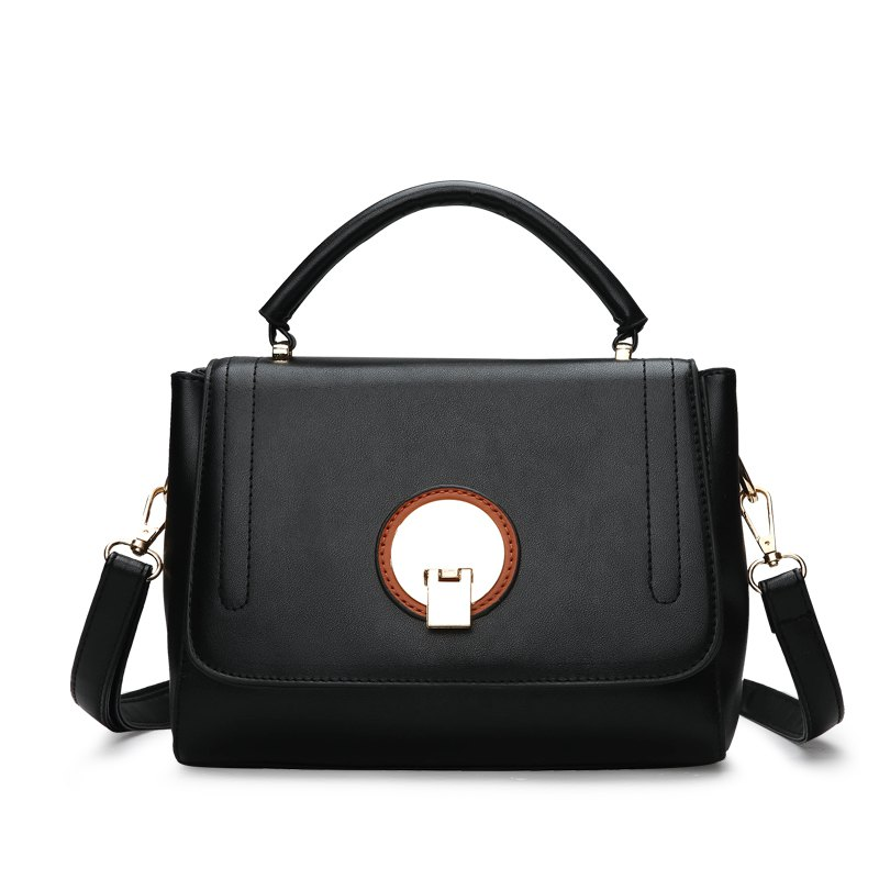 Fashion Litchi Grain Lock with Bag - BLACK