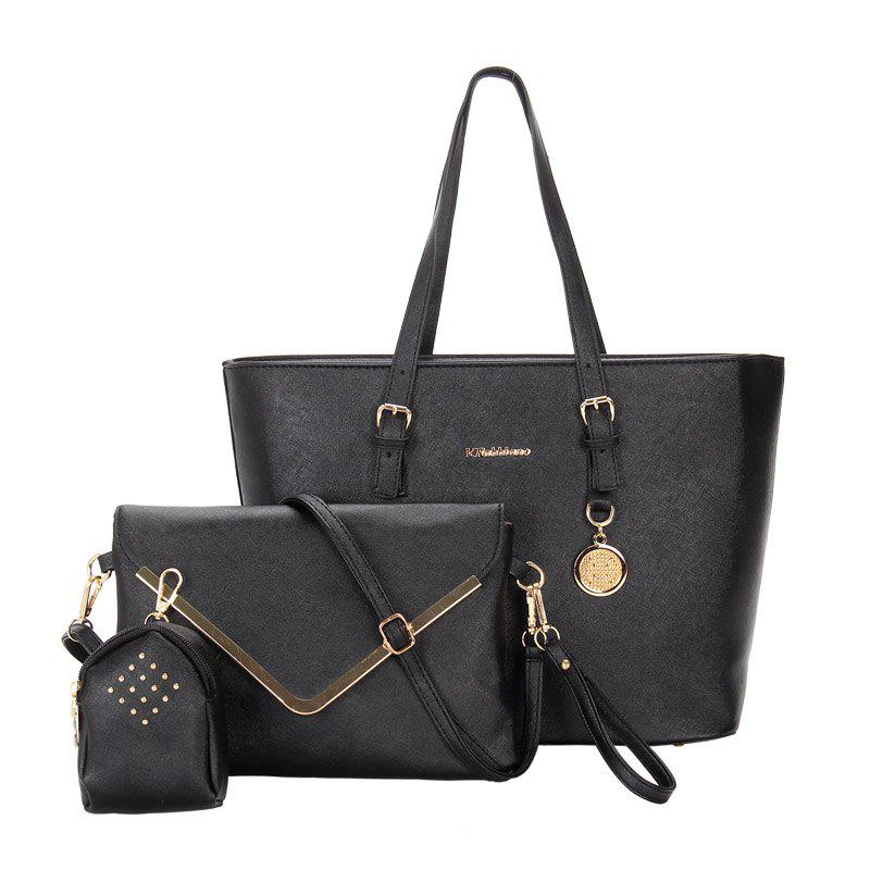Three-piece Fashion Cross Grain To Lash The Envelope Handbag - BLACK