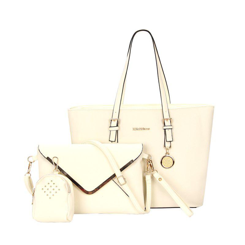 Three-piece Fashion Cross Grain To Lash The Envelope Handbag - WHITE