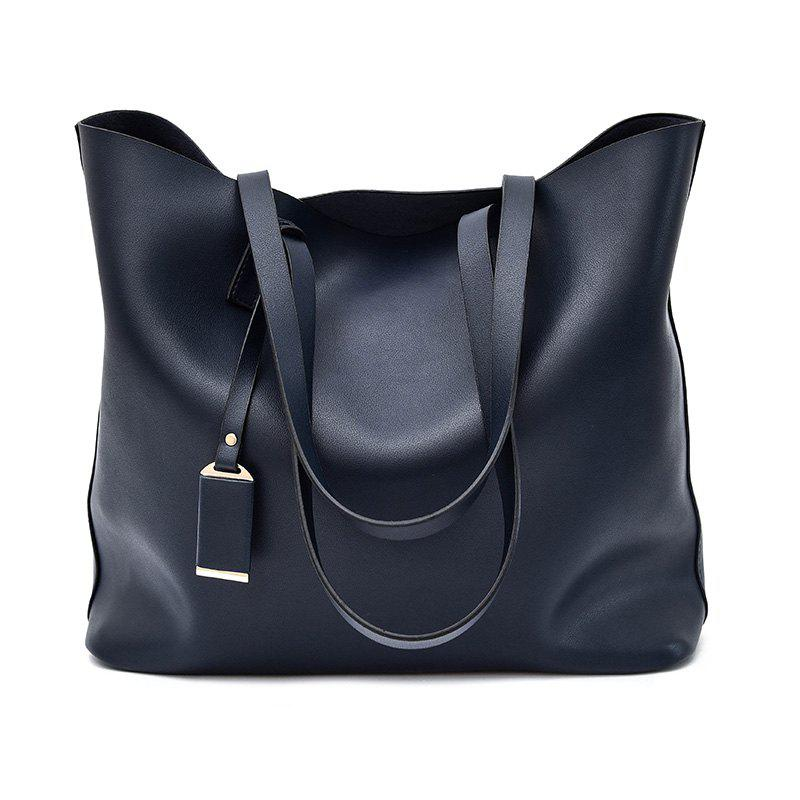 Large Capacity Handbag Fashion Leather Bucket Bag - BLUE