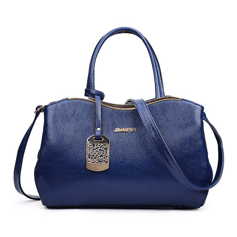 Fashion Litchi Grain Bowl Tassels Handbag - BLUE