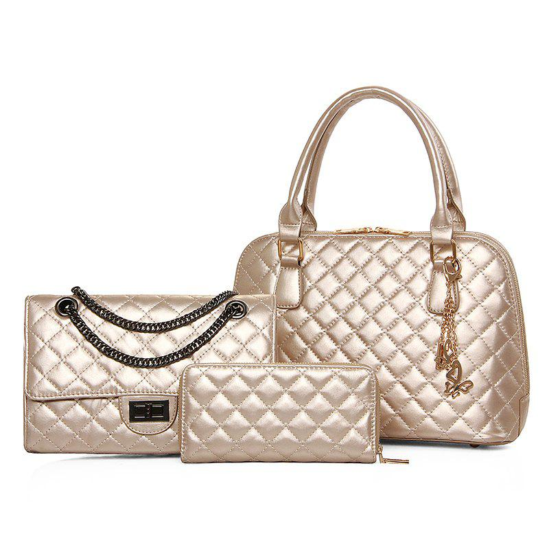 Three-piece Embroider Line Diamond Lattice Shells Lash Package Bag - GOLDEN