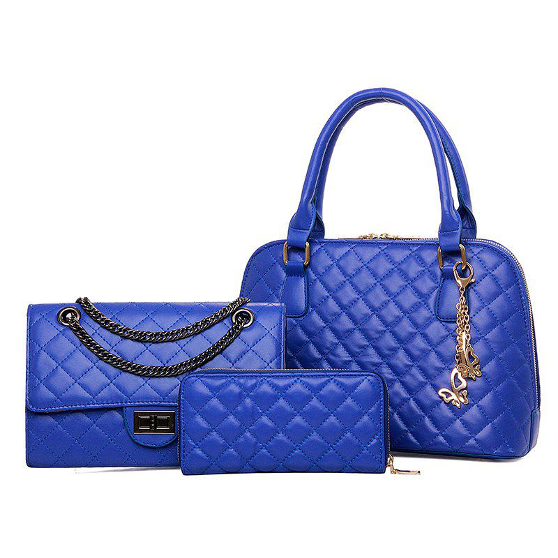 Three-piece Embroider Line Diamond Lattice Shells Lash Package Bag - BLUE