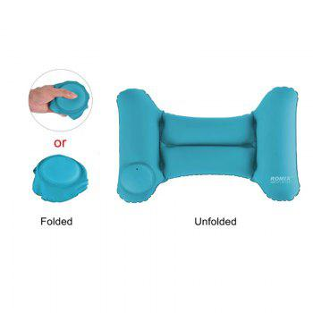 Travel Inflatable Head Neck Rest Pillow Lightweight Waterproof Air Push-Up Foldable Pillows - BLUE