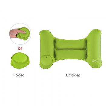 Travel Inflatable Head Neck Rest Pillow Lightweight Waterproof Air Push-Up Foldable Pillows - GREEN