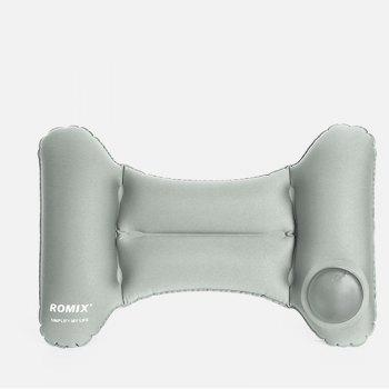 Travel Inflatable Head Neck Rest Pillow Lightweight Waterproof Air Push-Up Foldable Pillows - GRAY GRAY