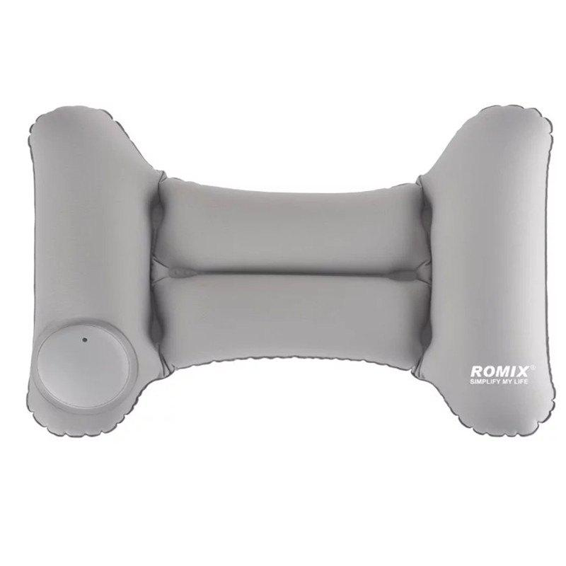 Travel Inflatable Head Neck Rest Pillow Lightweight Waterproof Air Push-Up Foldable Pillows - GRAY