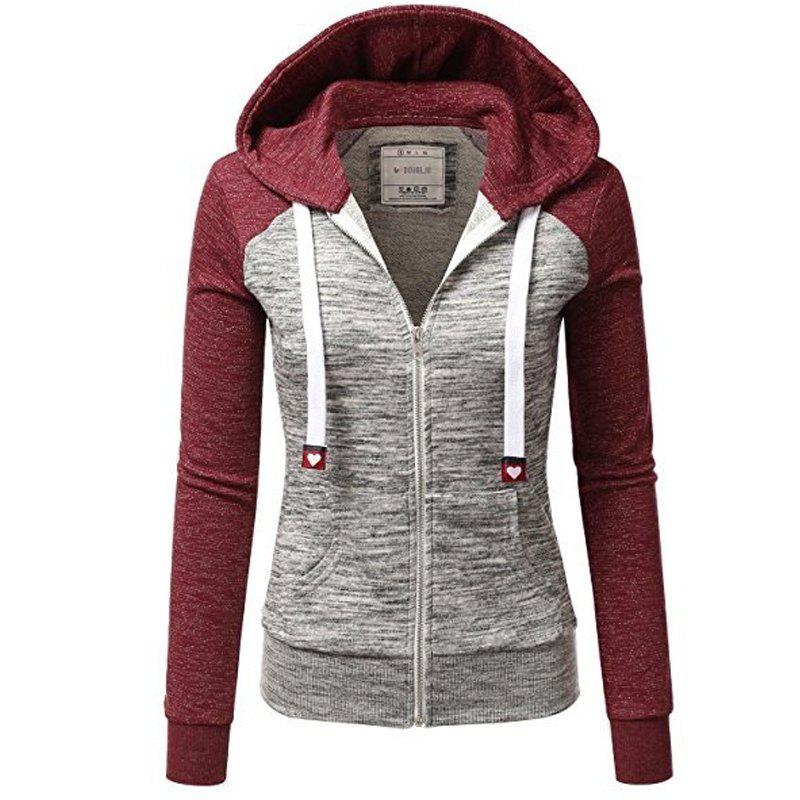 Two Colorful Hooded Drawstring Fashion Hoodie, Wine red