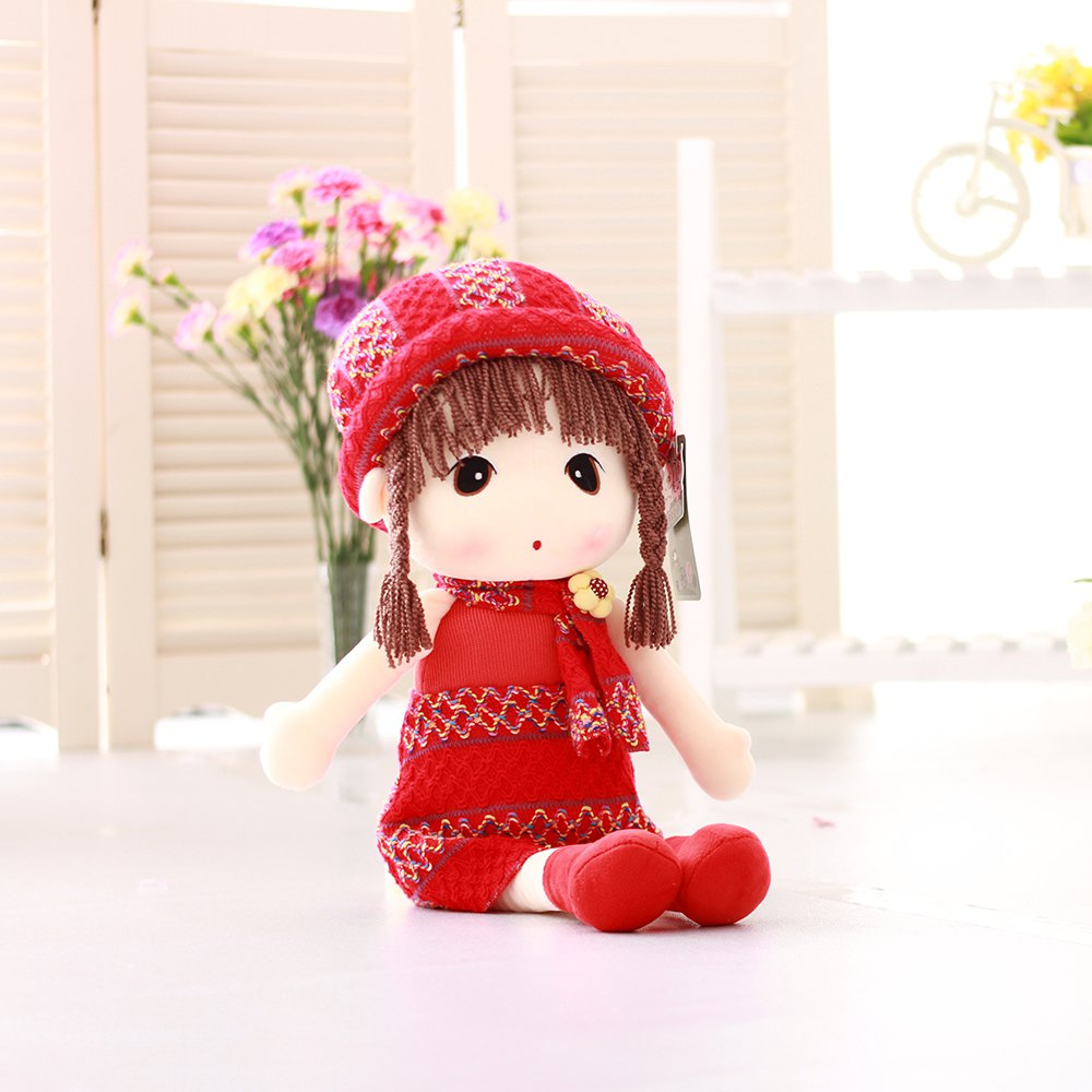40CM Braid Hair  Cute Girl Plush Doll Toy - RED