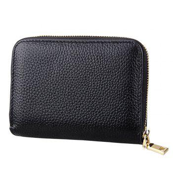 Fashion Women Genuine Leather Wallets Mini Cowhide Bag Card Holder - BLACK