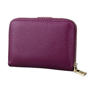Fashion Women Genuine Leather Wallets Mini Cowhide Bag Card Holder -  PURPLE