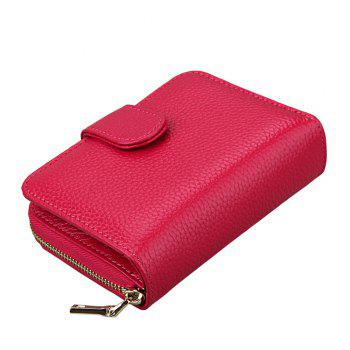 Fashion Women Genuine Leather Wallets Mini Cowhide Bag Card Holder - RED RED