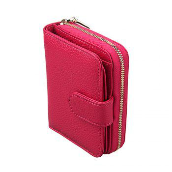 Fashion Women Genuine Leather Wallets Mini Cowhide Bag Card Holder -  RED