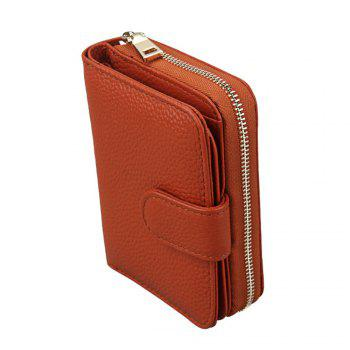 Fashion Women Genuine Leather Wallets Mini Cowhide Bag Card Holder - BROWN
