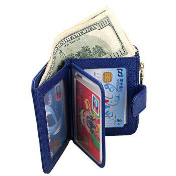 Fashion Women Genuine Leather Wallets Mini Cowhide Bag Card Holder - BLUE