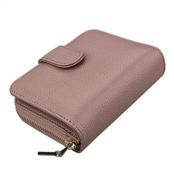 Fashion Women Genuine Leather Wallets Mini Cowhide Bag Card Holder - GRAY PINK GRAY PINK