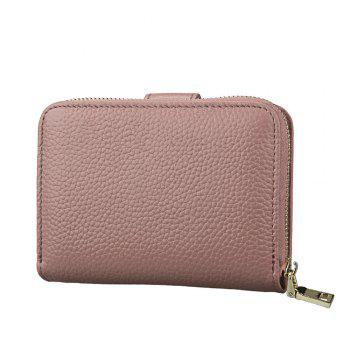 Fashion Women Genuine Leather Wallets Mini Cowhide Bag Card Holder -  GRAY PINK