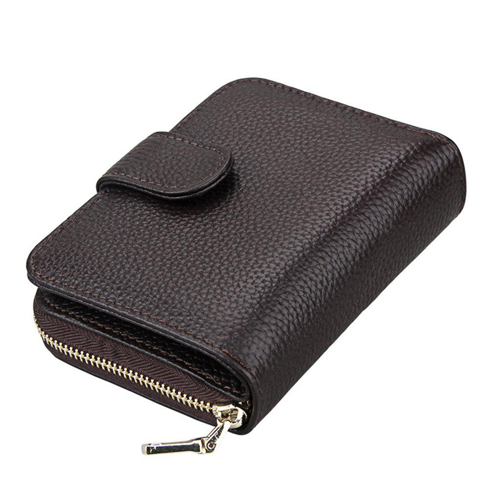 Fashion Women Genuine Leather Wallets Mini Cowhide Bag Card Holder - COFFEE