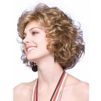 European Women Style Short Curly Hair Golden Blonde Synthetic Wigs -  GOLDEN