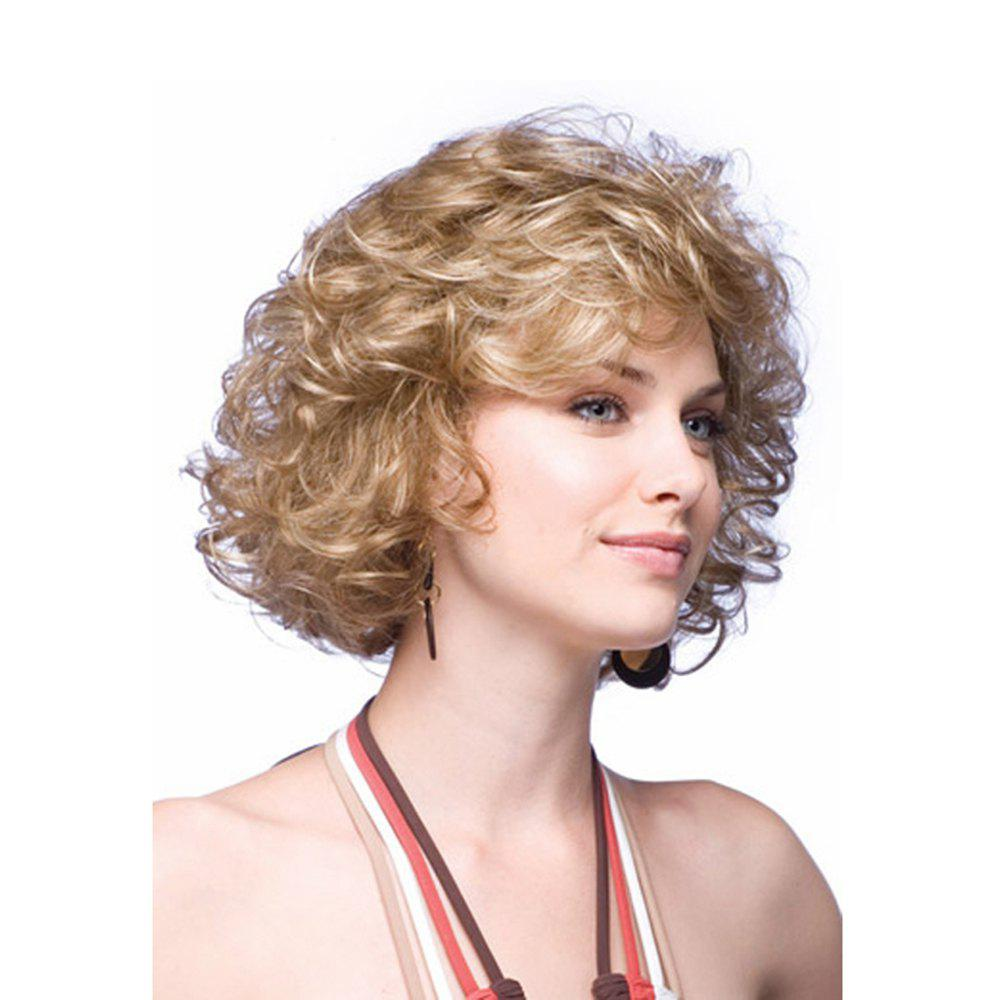 European Women Style Short Curly Hair Golden Blonde Synthetic Wigs pretty short straight blonde 8 synthetic hair wigs free shipping