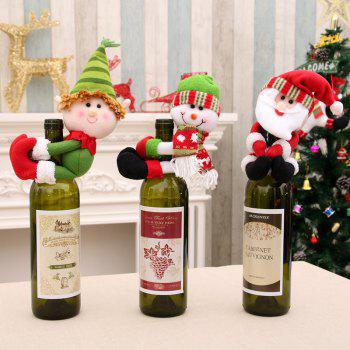 Set of 3 New Christmas Santa Claus Snowman Dolls Decorations Held Red Wine Bottle Bar Package Restaurant Decor Awesome G - COLORFUL