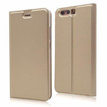 Pure Color Magnetic Pull in Leather Case Cover for Huawei P10 - GOLDEN GOLDEN