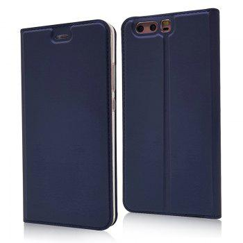 Pure Color Magnetic Pull in Leather Case Cover for Huawei P10 - DEEP BLUE DEEP BLUE