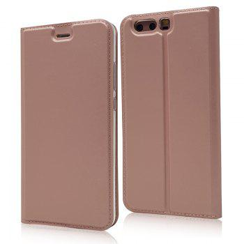 Pure Color Magnetic Pull in Leather Case Cover for Huawei P10 - ROSE GOLD ROSE GOLD