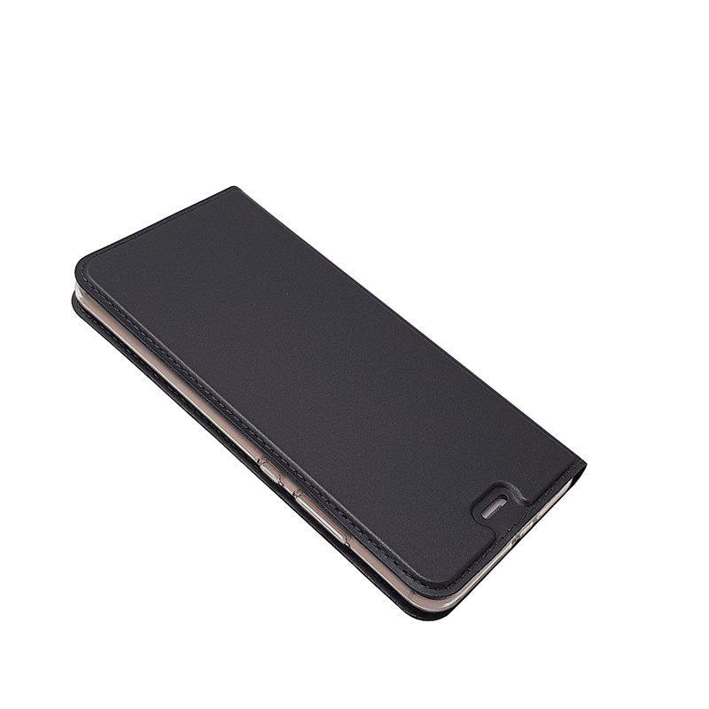 Pure Color Magnetic Pull in Leather Case Cover for Huawei P10 - GRAY