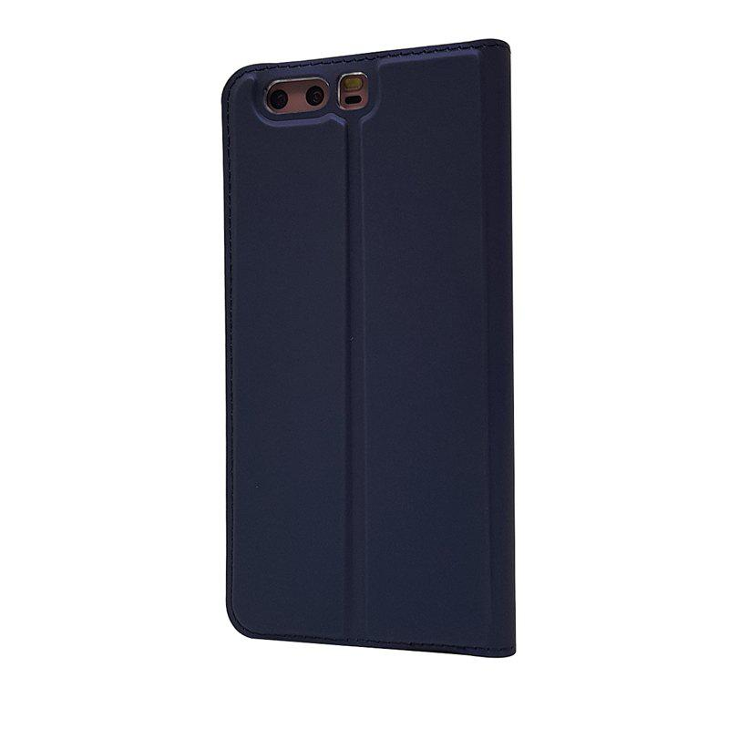 Pure Color Magnetic Pull in Leather Case Cover for Huawei P10 - DEEP BLUE