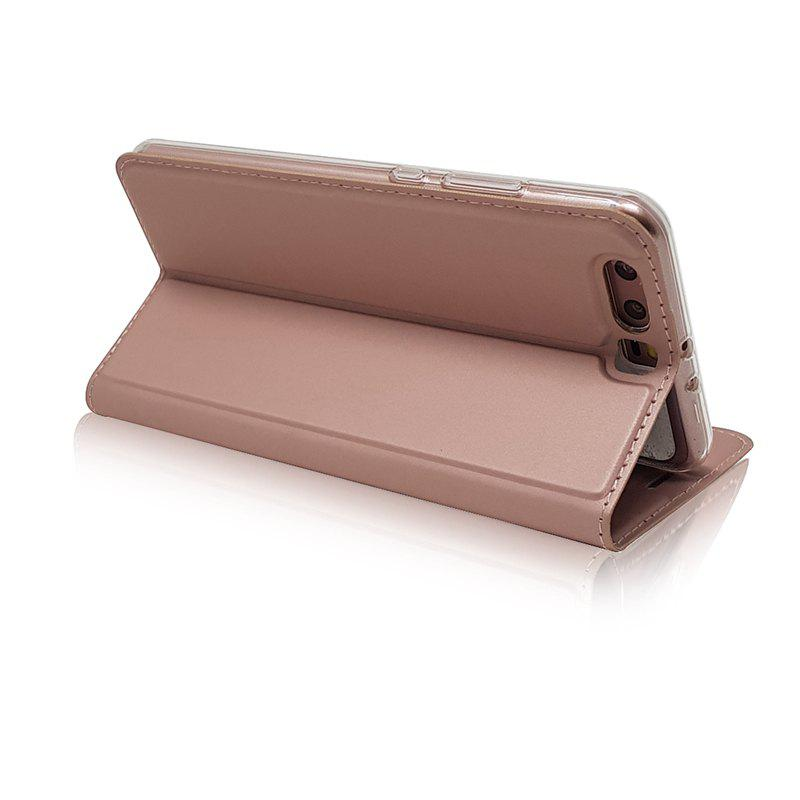 Pure Color Magnetic Pull in Leather Case Cover for Huawei P10 - ROSE GOLD