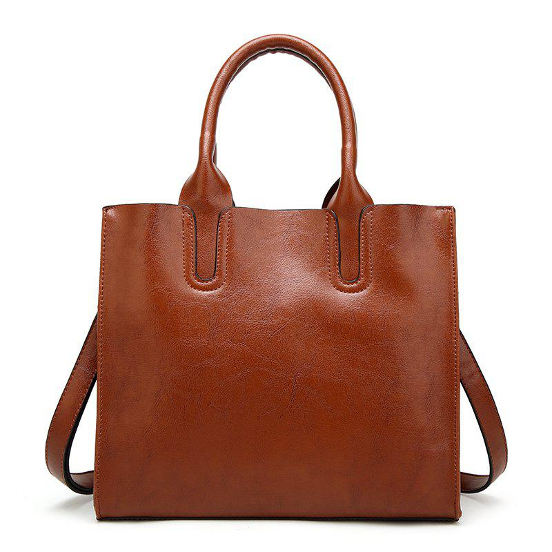 Lady Wild Simple Wax Leather Handbag - BROWN