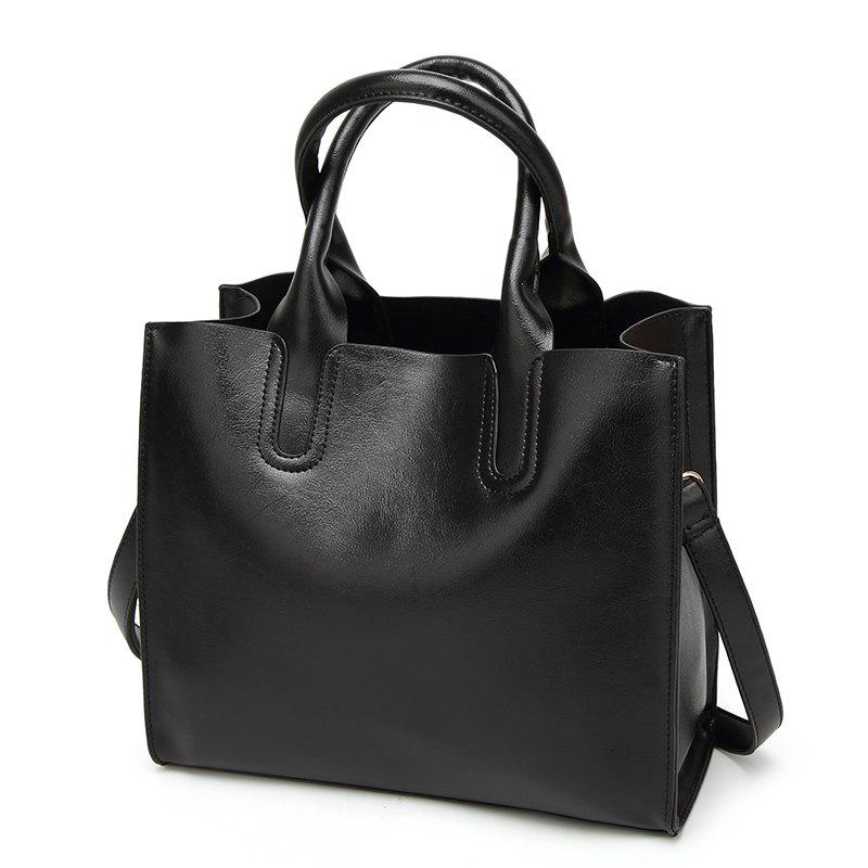 Lady Wild Simple Wax Leather Handbag - BLACK