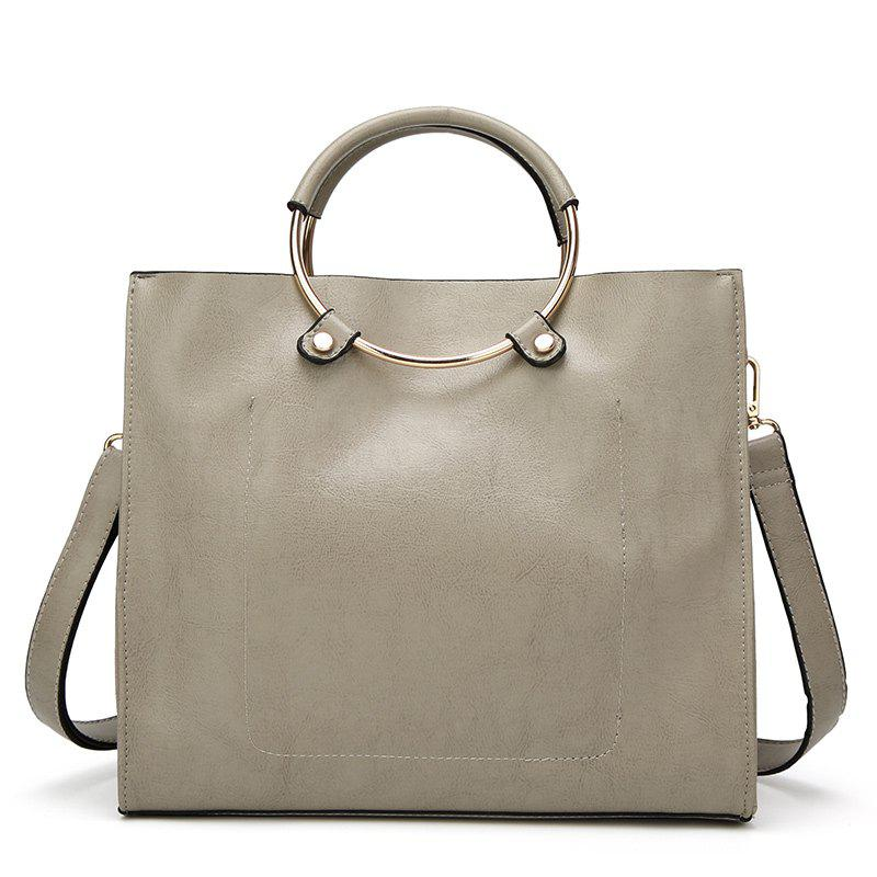 Laies Simple Circle Wax Leather Handbag - GRAY