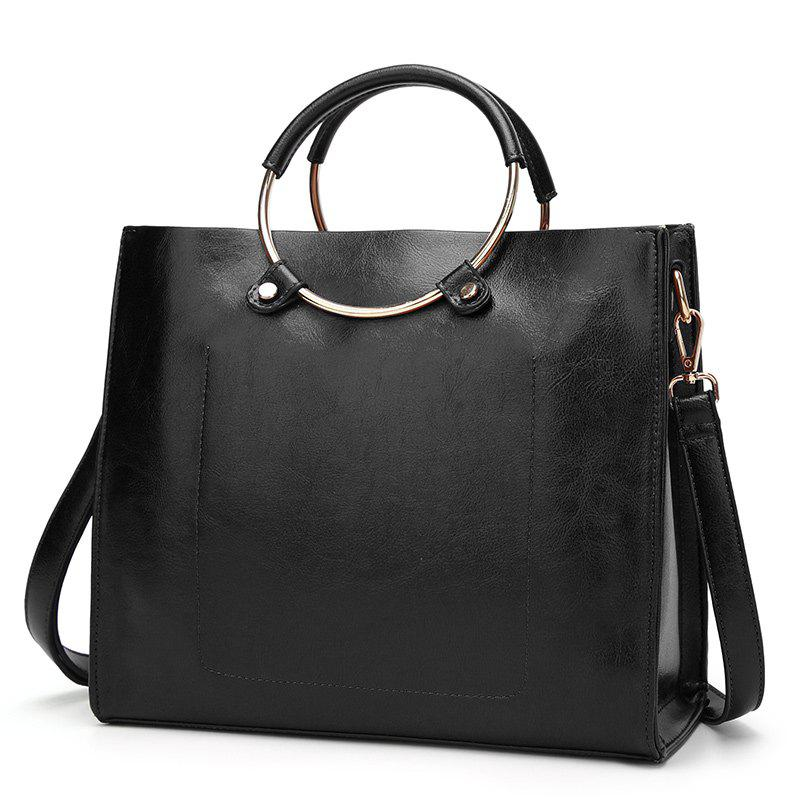 Laies Simple Circle Wax Leather Handbag - BLACK