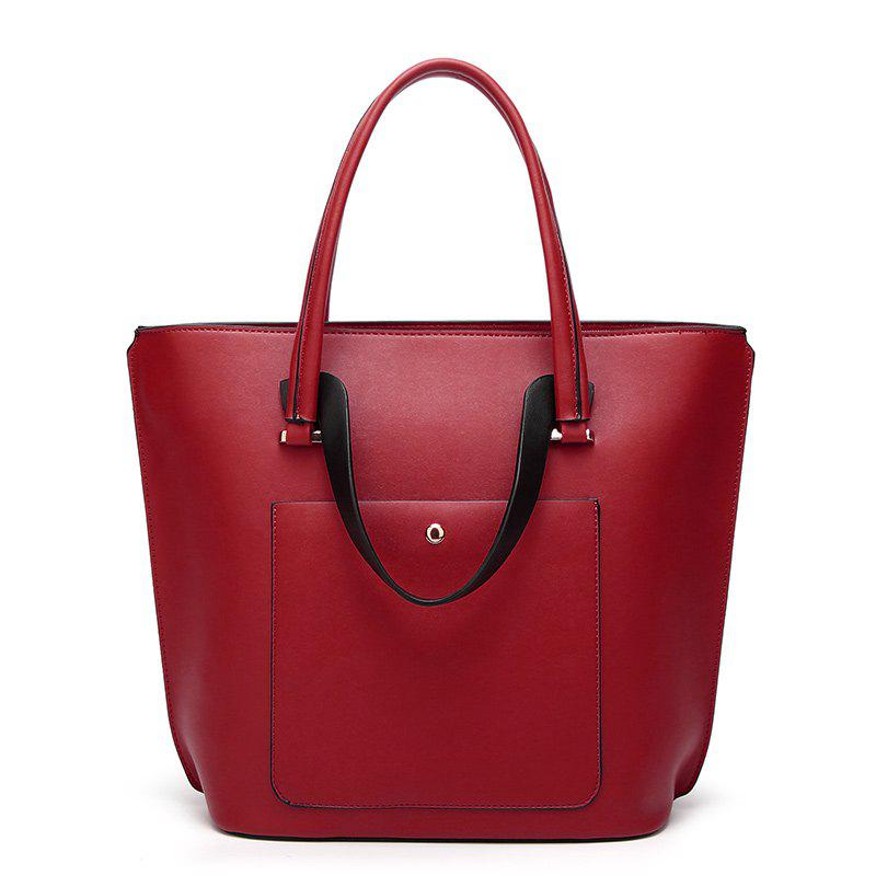 Ladies Retro Oil Wax Leather Handbag - RED