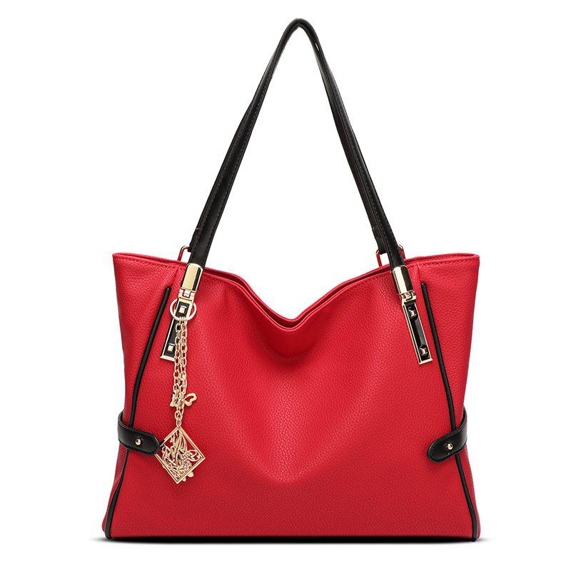Ladies Fashion Metal Ornaments Tote Handbag - RED