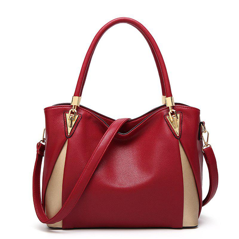 Women Classic Wild Lychee Pattern Spell Color Handbag - RED