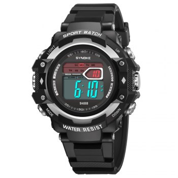SYNOKE 9488 Student Fashion Sports Multi-Function Electronic Watch - SILVER SILVER