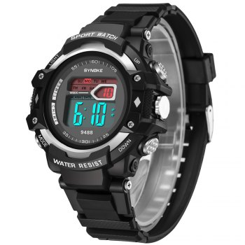 SYNOKE 9488 Student Fashion Sports Multi-Function Electronic Watch - SILVER