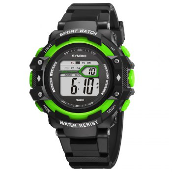 SYNOKE 9488 Student Fashion Sports Multi-Function Electronic Watch -  GREEN