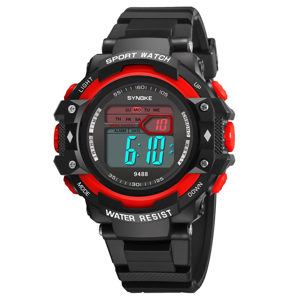 SYNOKE 9488 Student Fashion Sports Multi-Function Electronic Watch - RED