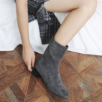 Miss Shoe B08 Round Head Rough Heel Medium and Medium Tube Stretch Boot - GRAY GRAY