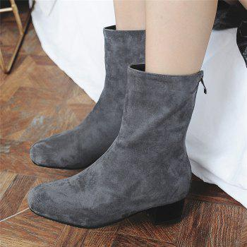 Miss Shoe B08 Round Head Rough Heel Medium and Medium Tube Stretch Boot - GRAY 37