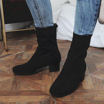 Miss Shoe B08 Round Head Rough Heel Medium and Medium Tube Stretch Boot - BLACK 47