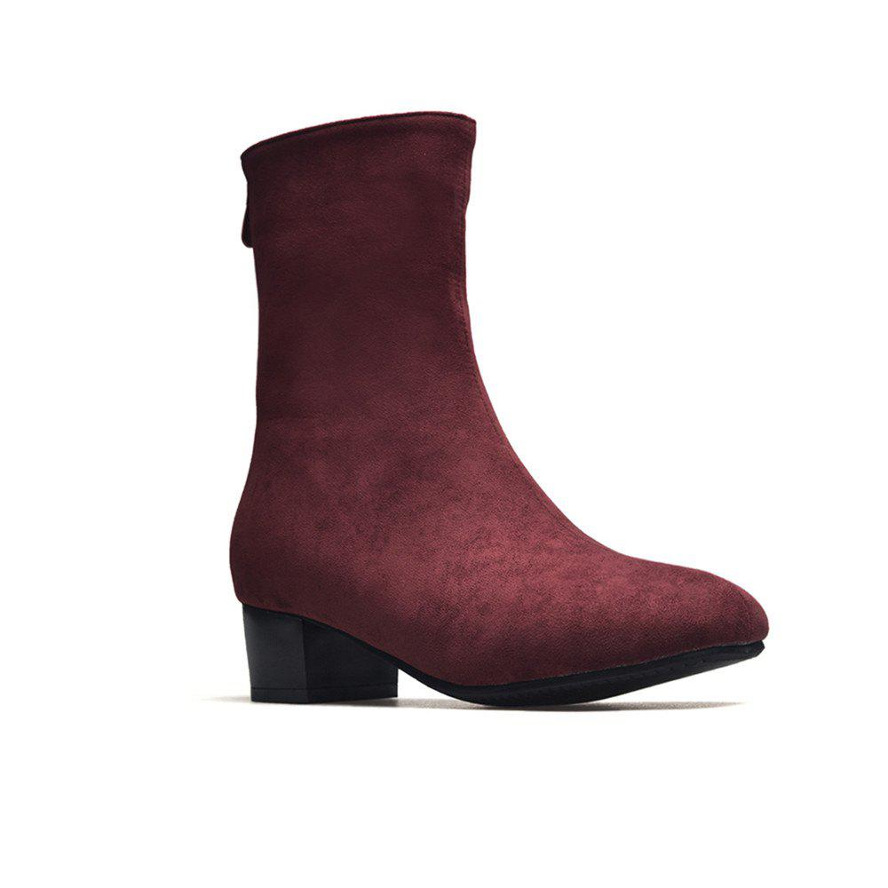 Miss Shoe B08 Round Head Rough Heel Medium and Medium Tube Stretch Boot - BURGUNDY 34