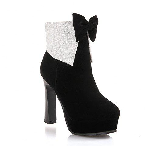 Miss Shoes 7002 Round Head Stiletto Heels and Cute Chic Ankle Boots - BLACK 32