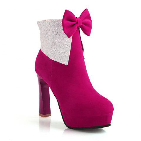 Miss Shoes 7002 Round Head Stiletto Heels and Cute Chic Ankle Boots - SANGRIA 32