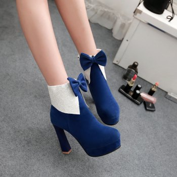 Miss Shoes 7002 Round Head Stiletto Heels and Cute Chic Ankle Boots - BLUE 32